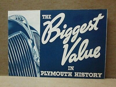 1937 THE BIGGEST VALUE IN PLYMOUTH HISTORY, 24 Pg Full Line Brochure, F-9680, NM