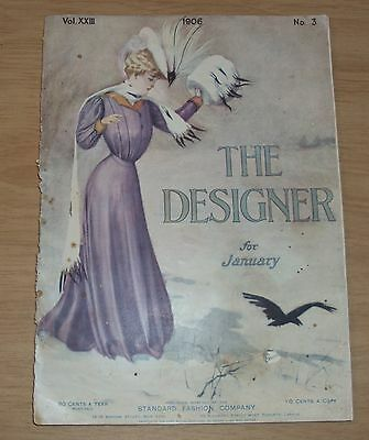 "RARE 1906 Women's FASHION Magazine~""The DESIGNER""~Amazing Content/COLOR Illust~"