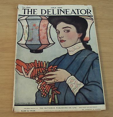 "Original 1906 Women's FASHION Magazine~""The DELINEATOR"" 4 Colored Illustrations~"