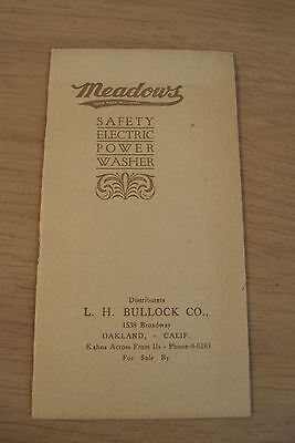 """Circa 1920 ADVERTISING Booklet~""""MEADOWS Safety Electric Power WASHER""""~ Graphics~"""