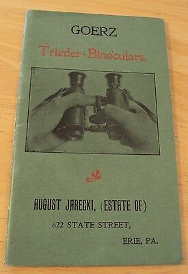 "VERY RARE Early 1900 Booklet/Catalog~""GOERZ TRIEDER-BINOCULARS""~Optics~"