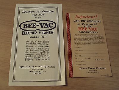 """Circa 1920 Operation/Care~""""BEE-VAC Electric Cleaner"""" Birtman Electric Co/Chicago"""
