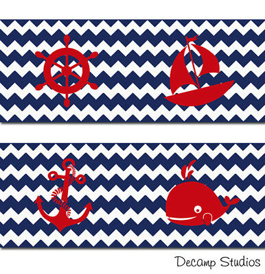 Nautical Nursery Border Chevron Navy Blue Baby Boy Wall Art Decal Sailboat Whale