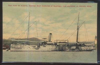 Postcard DETROIT MI  Captured Spanish Naval Ship Don Juan de Austria 1907