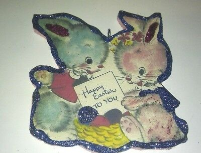 Glittered Wood Easter  Ornament Easter Two Bunnies