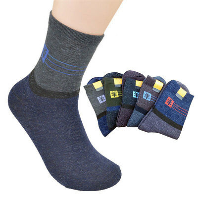 5 Pair Mens Thicken Thermal Wool Blended Casual Sports Winter Warm Hiking Socks