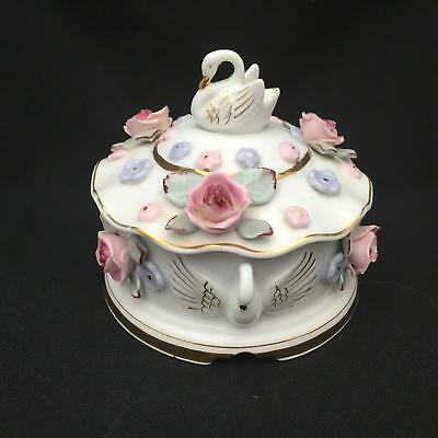 Lovely Vintage Capidimonte Style Powder Box / Trinket Dish w SWANS & Roses Japan