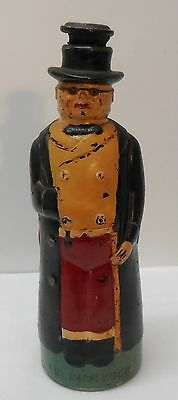Glass Bottle Mr Pickwick Man Top Hat Trench Coat Bowtie Hand Painted Vintage