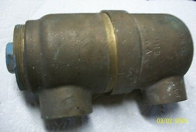 Vintage, Industrial Brass Pipe Drain Bottle Canister, Marked Vm Co. Erie Pa. Dwv