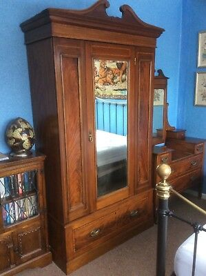 Antique Victorian Flame Walnut and Mahogany wardrobe UK DELIVERY