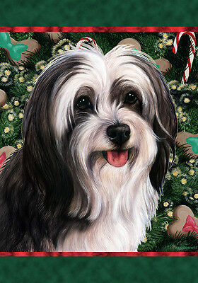Garden Indoor/Outdoor Holiday Flag - Black & White Tibetan Terrier 144781