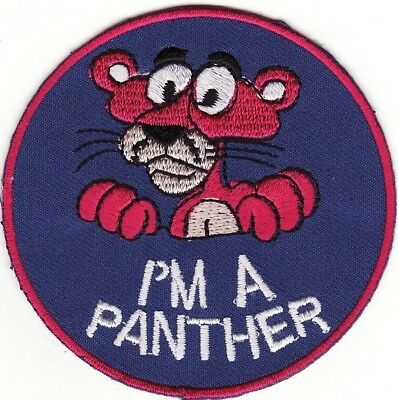 "Pink Panther 3"" Round I'm A Panther Embroidered Iron On Patch *New*"