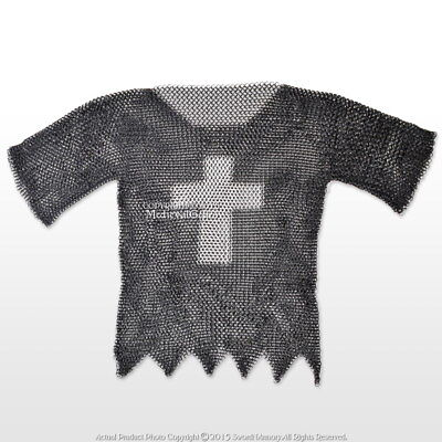 Black XL Size Medieval Chainmail Shirt Steel Butted Half Sleeve w/ Templar Cross