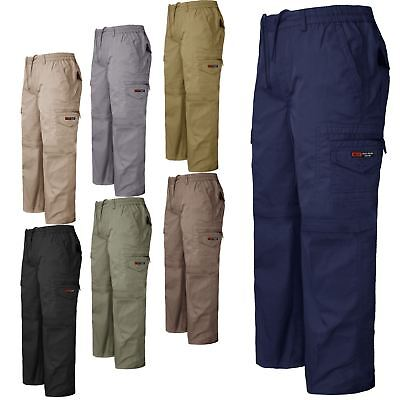 Mens Elasticated Waist Trousers Rugby Casual Combat Work Formal Pants Bottoms