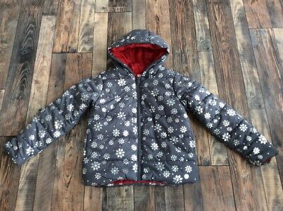 Gymboree Girls Grey snowflake puffer coat jacket size S 5 6