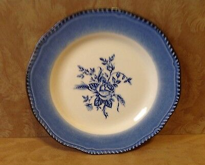 Luncheon Plate, England, Wood & Sons, Medium, Dark Blue, Ivory, Florals, England