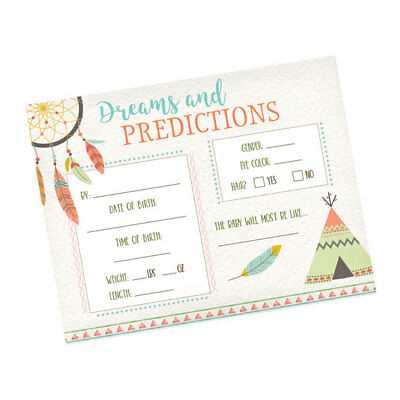 24 Boho Baby Prediction Card Game Baby Shower Activity