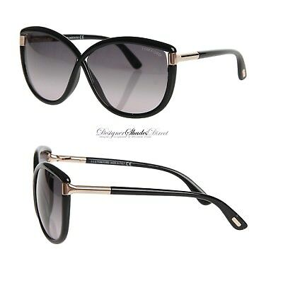 9cb0af6ded81 Tom Ford Sunglasses ABBEY TF327 01B Gloss Jet Black BUTTERFLY Oversized Gold
