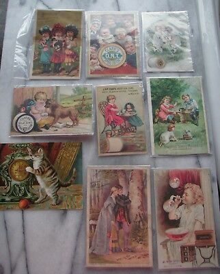 Victorian Trade Cards Clark's Spool Cotton Thread + Sewing Machines - Lot of 9