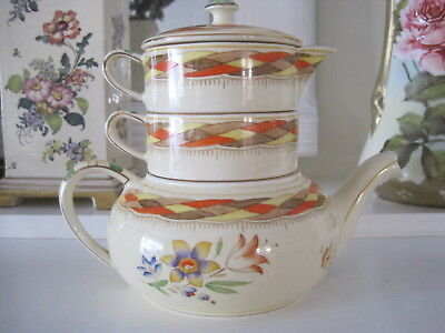 Rare Vintage Royal Winton Hp Stacking Teapot  ~  Unique Design