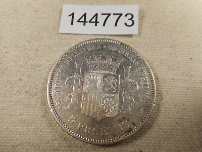 1870 Spain 5 Pesetas Cleaned - Silver - Unslabbed Raw Collector Coin  - # 144773