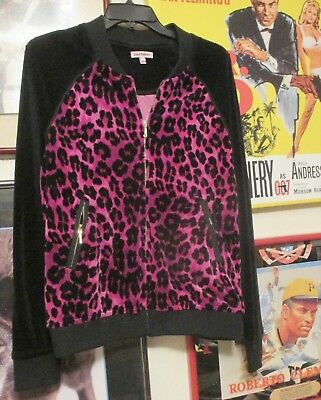 Authentic JUICY COUTURE Leopard Velour Bomber Jacket Size L Black Pink Dazzling