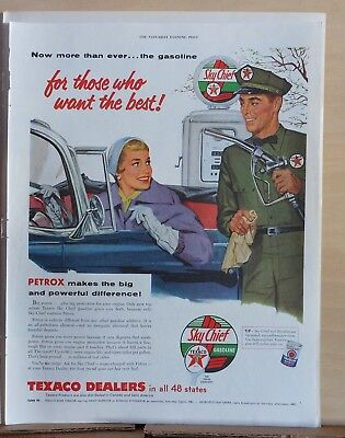 1950's magazine ad for Texaco - For Those Who Know the Best, woman at station