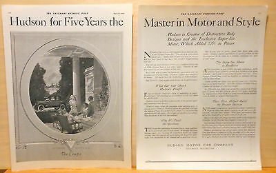 1920 vintage two page magazine ad for Hudson - Super Six Coupe, Master in Motor