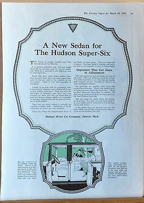 1918 magazine ad for Hudson - Hudson Super Six sedan, Roominess in seating