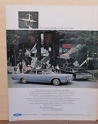1967 magazine ad for Lincoln - 1965 and 1967 Continental Sedan, not out of style