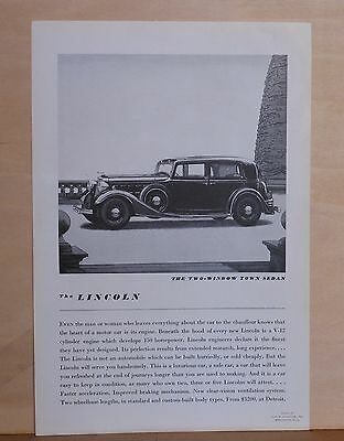 1920's magazine ad for Lincoln - Two window Town Sedan with V-12 engine