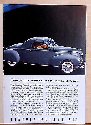1938 magazine ad for Lincoln - Zephyr, Thoroughly Modern only car of its kind