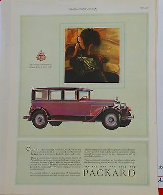 1927 magazine ad for Packard - wealthy society woman with black fan, Charm