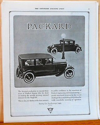Vintage 1923 magazine ad for Packard - Demand for the Single Six Growing!