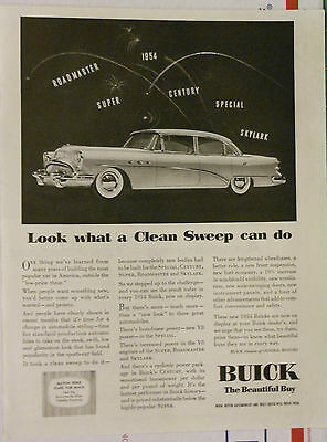 Vintage 1954 magazine ad for Buick - Clean Sweep with V8 power