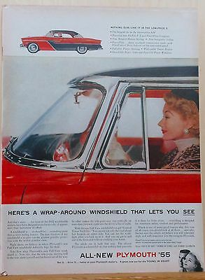 Vintage 1954 magazine ad for Plymouth - Wrap Around Windshield for 1955