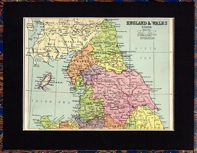 Antique MAP ~ ENGLAND & WALES (North) ~ 1934 MOUNTED Original 80+ Yrs Old