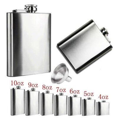 4-18oz Stainless Steel Pocket Hip Flask Whiskey Liquor Screw Cap + Funnel Silver