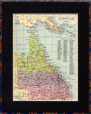 Antique MAP ~ QUEENSLAND in AUSTRALIA ~ 1934 MOUNTED Original 80+ Years Old