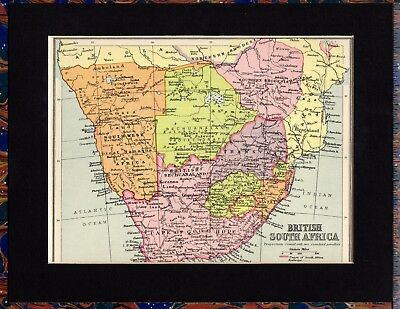 Antique MAP ~ BRITISH SOUTH AFRICA ~ 1934 MOUNTED Original 80+ Years Old