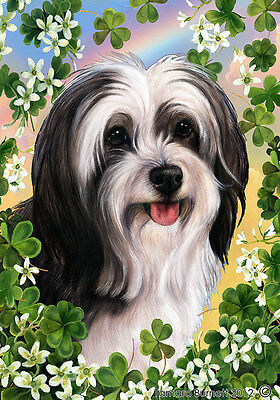Large Indoor/Outdoor Clover Flag - Black & White Tibetan Terrier 31478