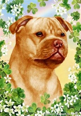 Large Indoor/Outdoor Clover Flag - Org Staffordshire Bull Terrier 31247
