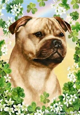 Large Indoor/Outdoor Clover Flag - Fawn Staffordshire Bull Terrier 31245