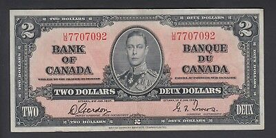 1937 $2 Dollars - Gordon Towers - Prefix U/B - Bank of Canada - D908