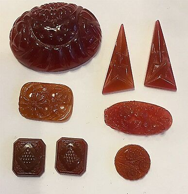 Vintage Stunning Carved Carnelian Glass Flower & Deco Jewels 8 Pieces #cw