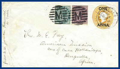 India 1900, stationery cover to Portugese Angola. Missionary mail. #S13