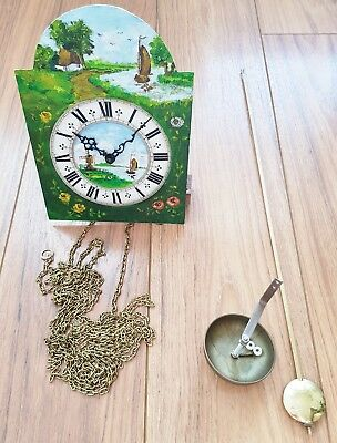 Clock Movement Dial Hermle Hand Painted Friese Clock Pendulum & Chains Vintage