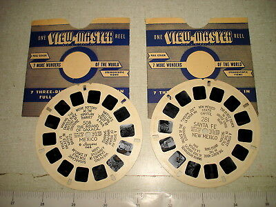 2 c1940 Hand-Lettered VIEWMASTER REEL Lot 281 SANTA FE #508 OAXACA INDIANS NR