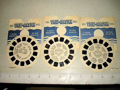 3 c1940 Hand-Lettered VIEWMASTER REEL Lot 96 OR Coast 111 Redwood 291 CA Flowers