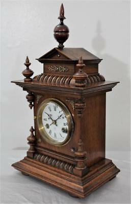 EXCELLENT ORIGINAL ANTIQUE JUNGHANS STRIKING MANTLE BRACKET CLOCK cir 1900